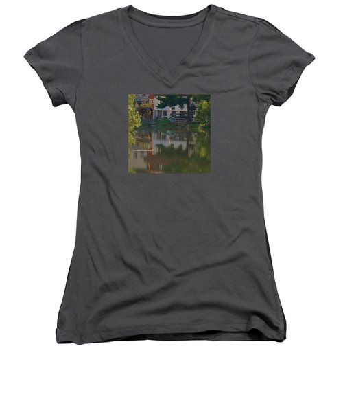 Women's V-Neck T-Shirt (Junior Cut) featuring the photograph A Cities Reflection by Ramona Whiteaker