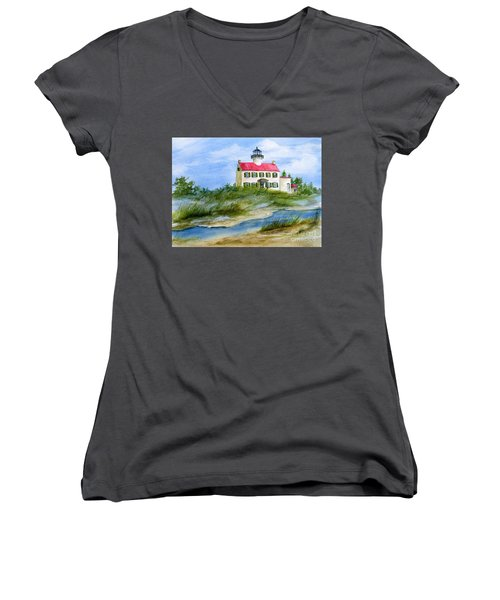 A Clear Day At East Point Lighthouse Women's V-Neck T-Shirt