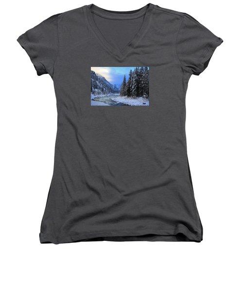 A Cold Winter Day Version 2 Women's V-Neck T-Shirt (Junior Cut) by Lynn Hopwood