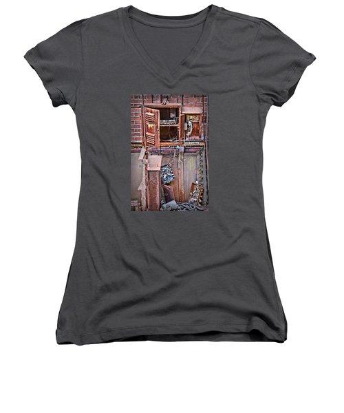 Women's V-Neck T-Shirt (Junior Cut) featuring the photograph A Collaboration Of Rust by DJ Florek