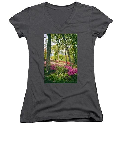 A Colorful Hillside Women's V-Neck