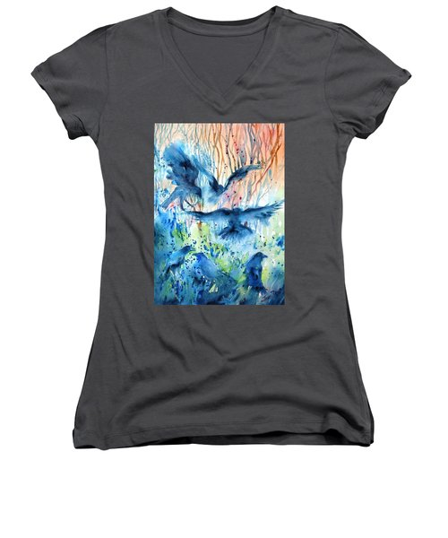 A Conspiracy Of Ravens  Women's V-Neck T-Shirt (Junior Cut) by Trudi Doyle