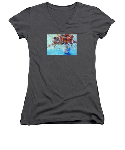 A Cool Spot Women's V-Neck T-Shirt (Junior Cut) by Becky Chappell