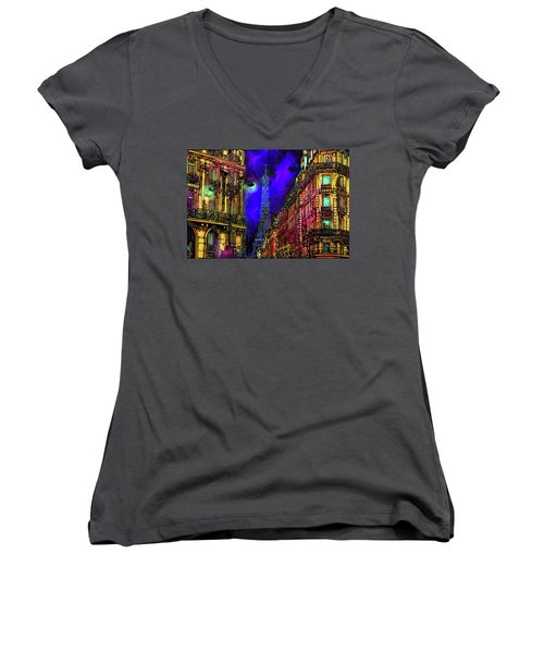 A Corner In Paris Women's V-Neck T-Shirt (Junior Cut) by DC Langer