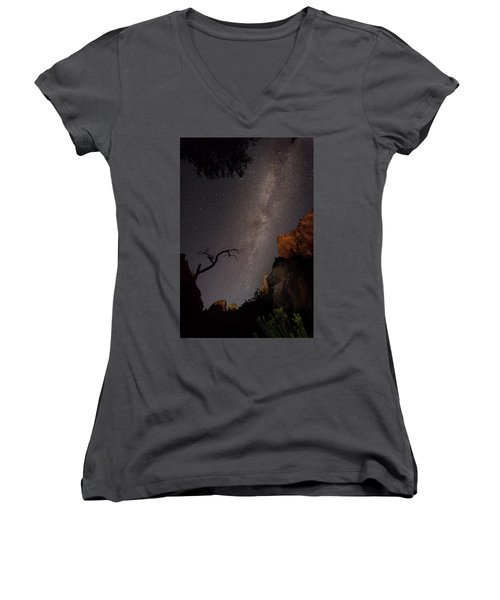A Dark Night In Zion Canyon Women's V-Neck