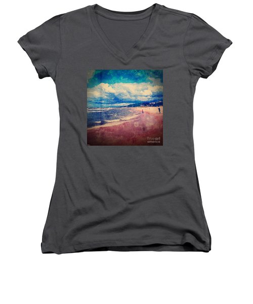 Women's V-Neck T-Shirt (Junior Cut) featuring the photograph A Day At The Beach by Phil Perkins