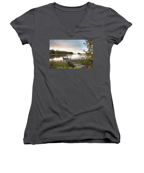 A Dock On A Lake At Sunrise Near Wawa Women's V-Neck T-Shirt