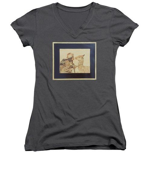 A Door To The Andean Heart Women's V-Neck T-Shirt (Junior Cut) by Pamela Puch Santillan