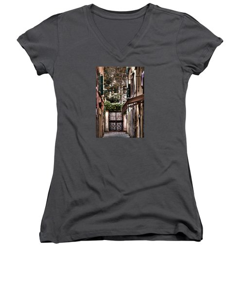 Women's V-Neck T-Shirt (Junior Cut) featuring the photograph A Doorway In Venice With Oil Effect by Tom Prendergast