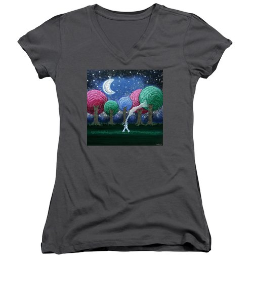 A Dream In The Forest Women's V-Neck (Athletic Fit)
