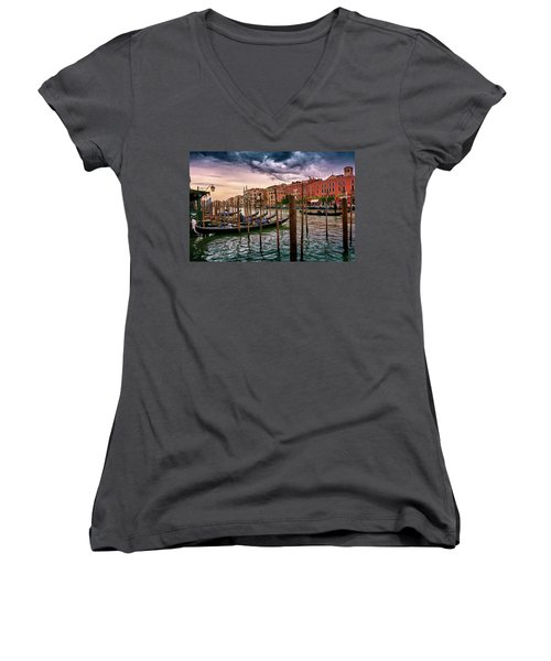Surreal Seascape On The Grand Canal In Venice, Italy Women's V-Neck
