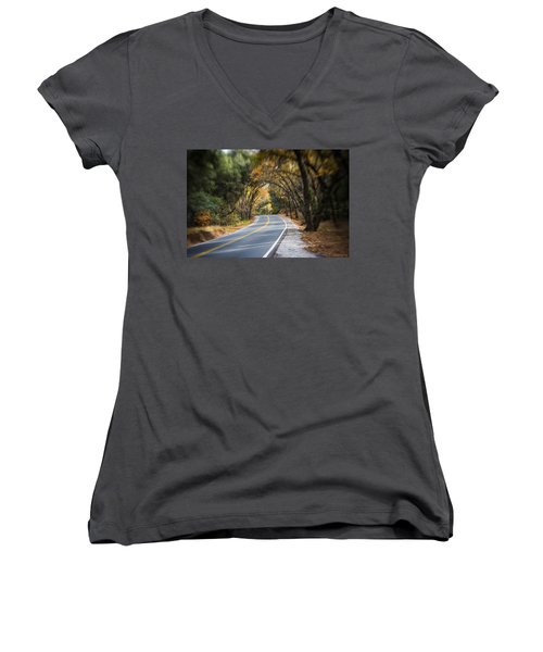 A Fall Roadway Women's V-Neck (Athletic Fit)