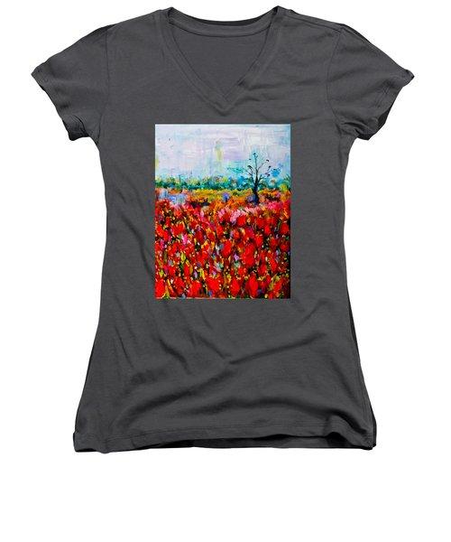 A Field Of Flowers # 2 Women's V-Neck