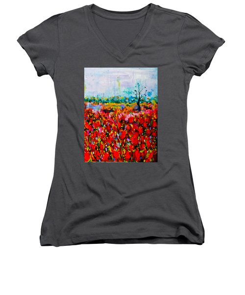 A Field Of Flowers # 2 Women's V-Neck T-Shirt