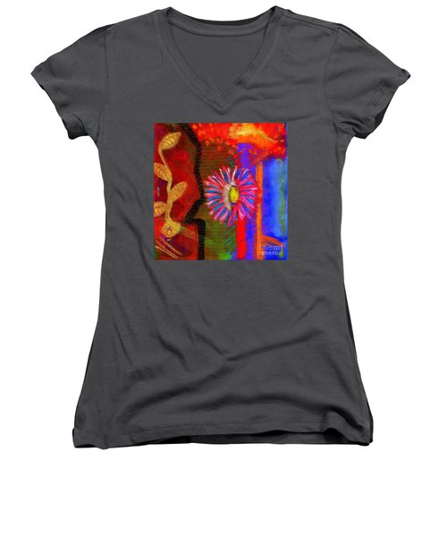 Women's V-Neck T-Shirt (Junior Cut) featuring the painting A Flower For You by Angela L Walker