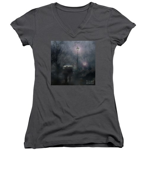 Women's V-Neck T-Shirt featuring the photograph A Foggy Night Romance by LemonArt Photography