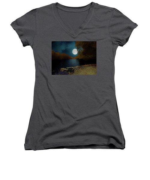 A Full Moon On A River. Women's V-Neck