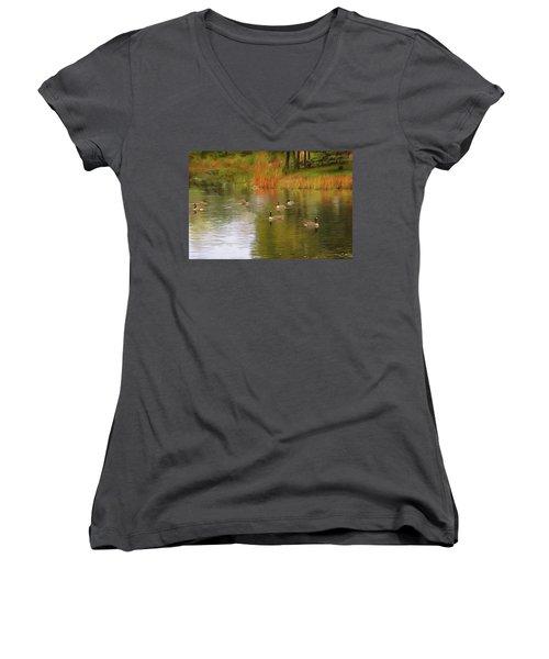 A Gaggle Of Geese Women's V-Neck T-Shirt (Junior Cut) by Cedric Hampton