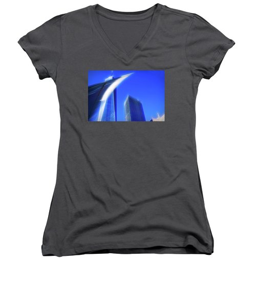 A Glimpse Of The Oculus - New York's Financial District Women's V-Neck (Athletic Fit)