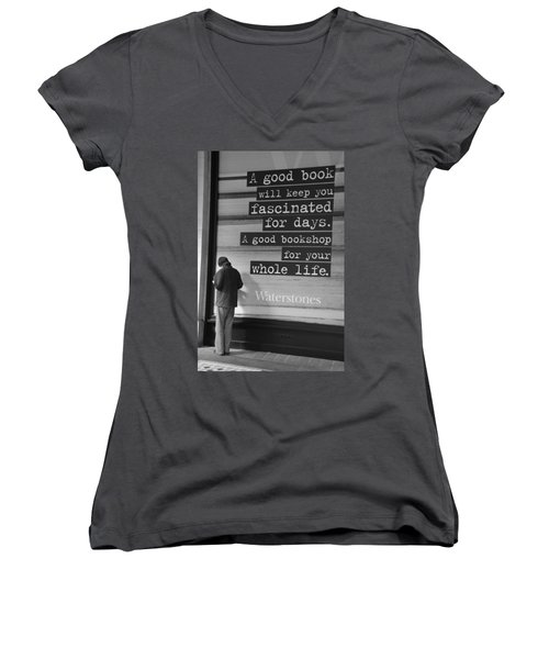 A Good Book Women's V-Neck (Athletic Fit)