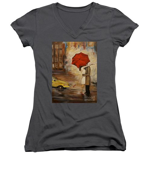 A Hello Kiss Women's V-Neck T-Shirt (Junior Cut) by Leslie Allen