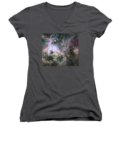Women's V-Neck T-Shirt (Junior Cut) featuring the photograph A Hubble Infrared View Of The Tarantula Nebula by Nasa