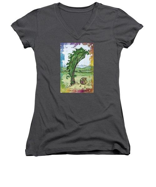 A Kale Leaf And A Little Bird Women's V-Neck T-Shirt (Junior Cut) by Carolyn Doe