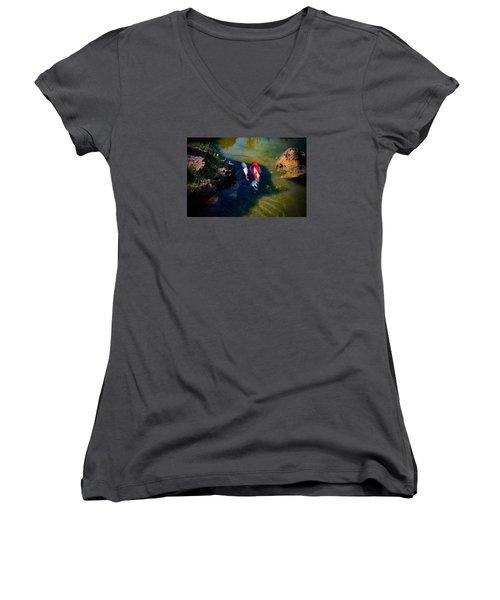 A Koi Romance Women's V-Neck T-Shirt