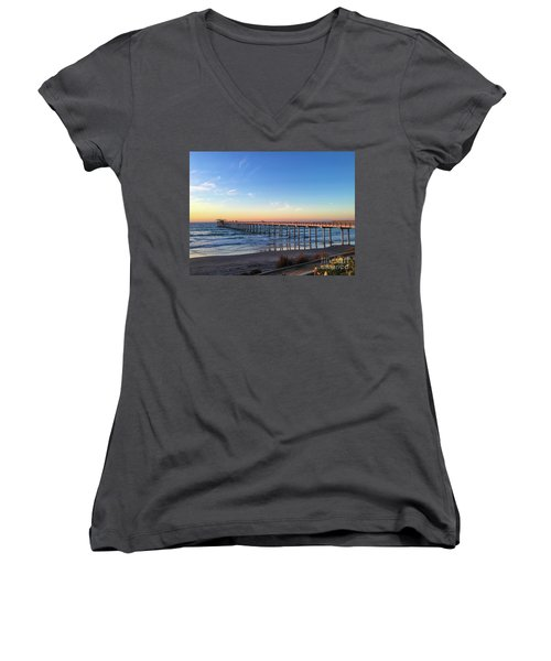 A Long Look At Scripps Pier At Sunset Women's V-Neck