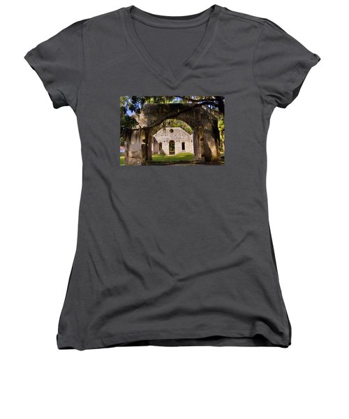 A Look Into The Chapel Of Ease St. Helena Island Beaufort Sc Women's V-Neck