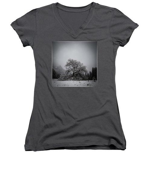 A Magic Tree Women's V-Neck T-Shirt (Junior Cut) by Lora Lee Chapman