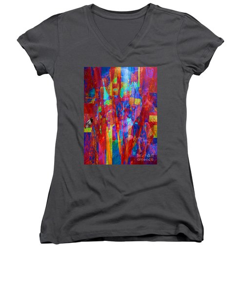 Women's V-Neck T-Shirt (Junior Cut) featuring the painting A Magpie At Wallstreet by Mojo Mendiola