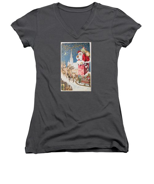 A Merry Christmas Vintage Greetings From Santa Claus And His Raindeer Women's V-Neck T-Shirt (Junior Cut) by R Muirhead Art