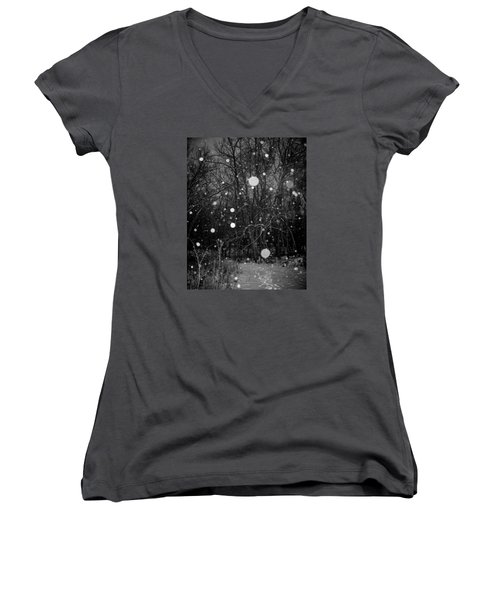 Women's V-Neck T-Shirt (Junior Cut) featuring the photograph A Message by Annette Berglund
