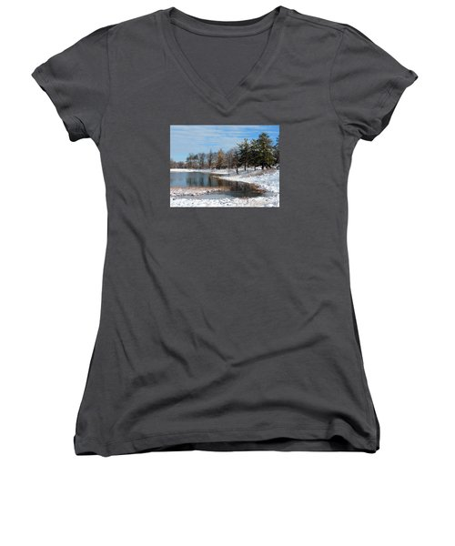 Women's V-Neck T-Shirt (Junior Cut) featuring the photograph A Mild Winter Morning by Teresa Schomig