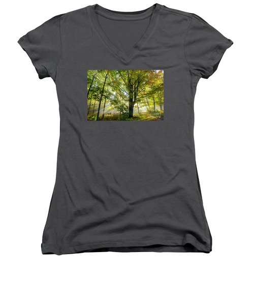 A Misty Fall Morning Women's V-Neck T-Shirt