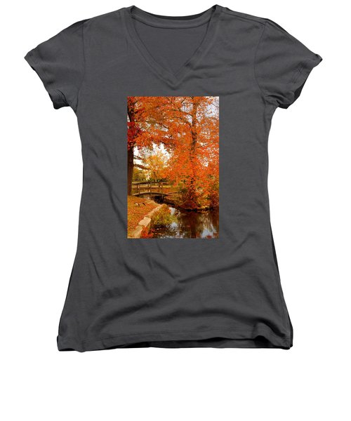A Morning In Autumn - Lake Carasaljo Women's V-Neck