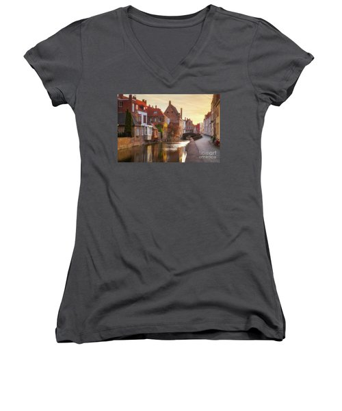 A Morning In Brugge Women's V-Neck T-Shirt (Junior Cut) by JR Photography