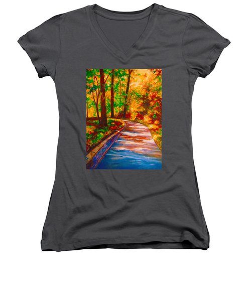 A Morning Walk Women's V-Neck T-Shirt