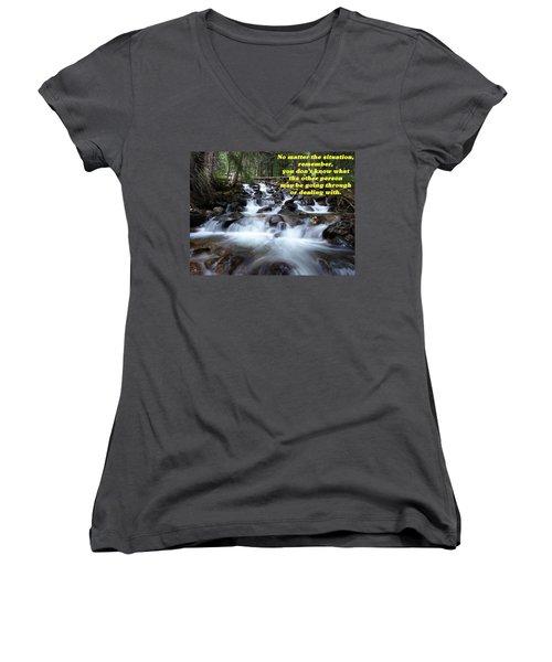 A Mountain Stream Situation 2 Women's V-Neck T-Shirt (Junior Cut) by DeeLon Merritt