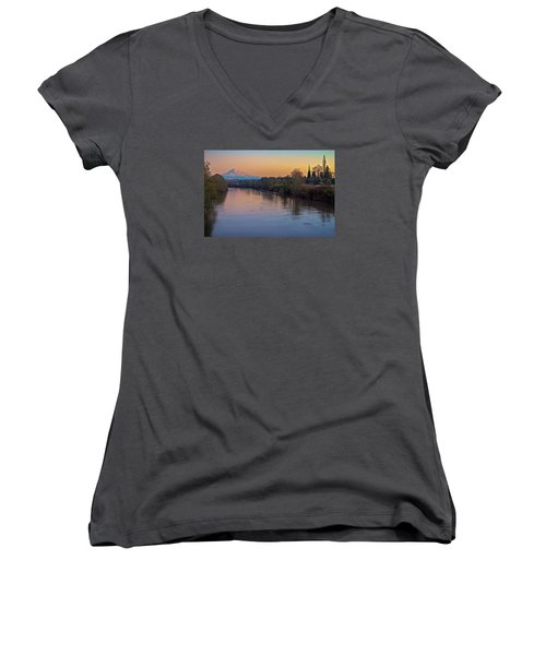 A Mt Tahoma Sunset Women's V-Neck (Athletic Fit)