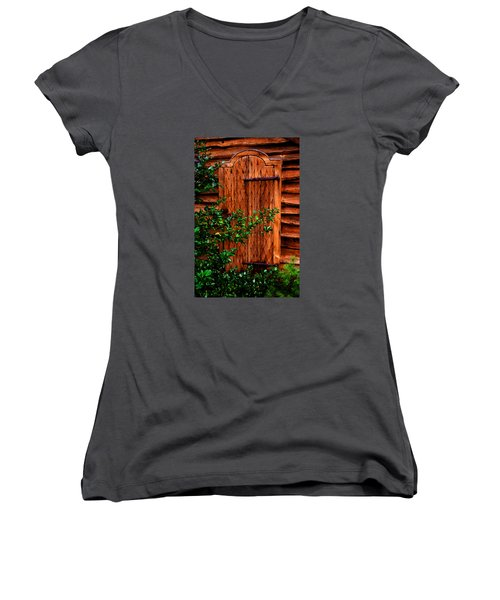Women's V-Neck T-Shirt (Junior Cut) featuring the photograph A Mystery by Richard Ortolano
