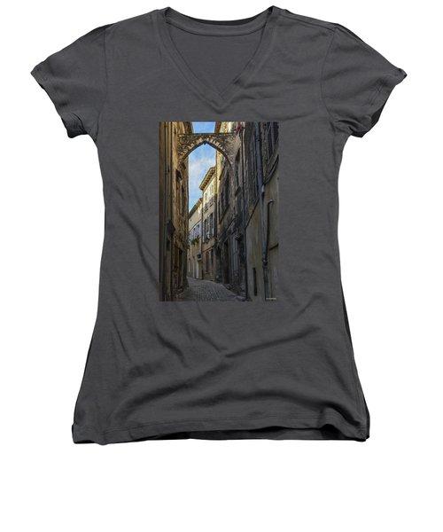 Women's V-Neck T-Shirt (Junior Cut) featuring the photograph A Narrow Street In Viviers by Allen Sheffield