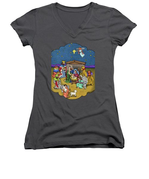 A Nativity Scene Women's V-Neck (Athletic Fit)