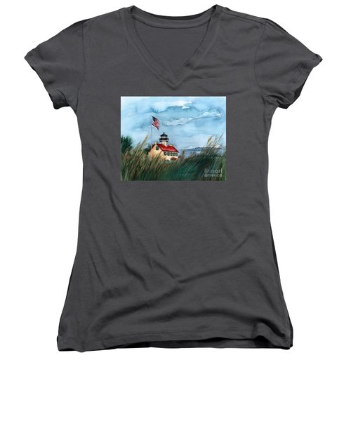 A New Day At East Point Lighthouse Women's V-Neck T-Shirt (Junior Cut) by Nancy Patterson