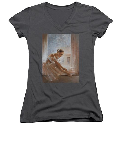 A New Day Ballerina Dance Women's V-Neck T-Shirt