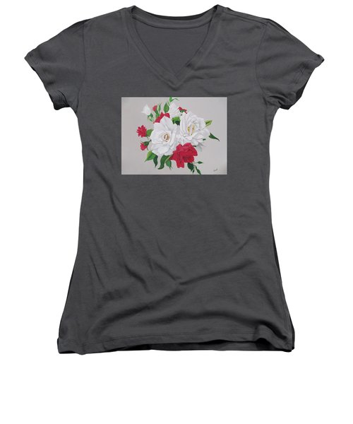 Women's V-Neck T-Shirt (Junior Cut) featuring the painting A New Rose Bouquet by Hilda and Jose Garrancho
