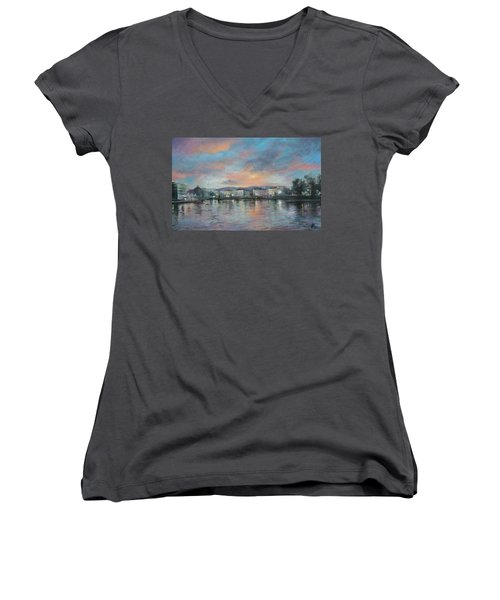 A Night At Geneva Women's V-Neck T-Shirt (Junior Cut) by Vali Irina Ciobanu