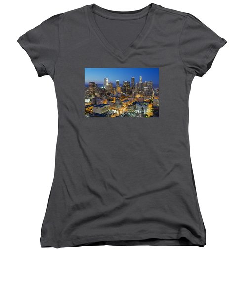 A Night In L A Women's V-Neck T-Shirt (Junior Cut) by Kelley King