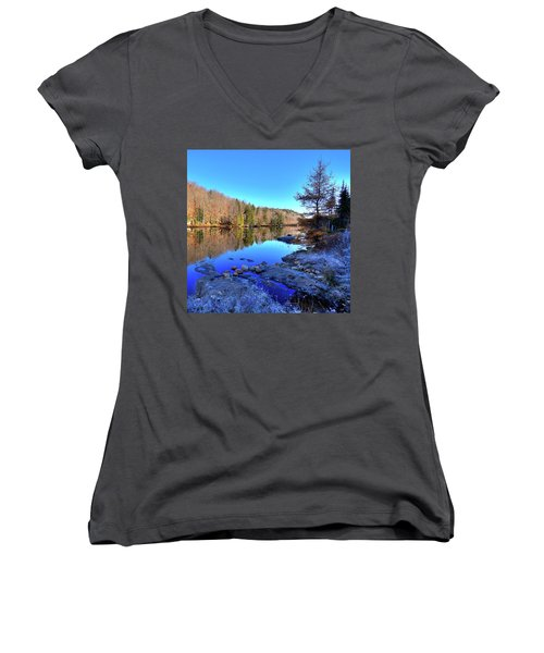 Women's V-Neck T-Shirt (Junior Cut) featuring the photograph A November Morning On The Pond by David Patterson